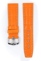 Hirsch Tritone - orange - white stitching