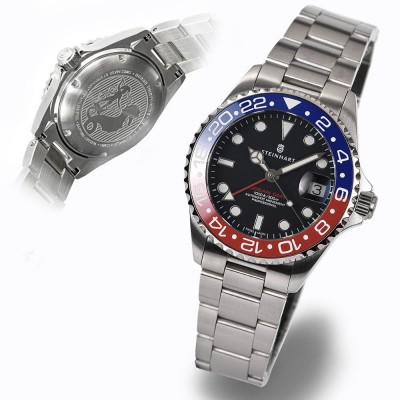 Steinhart Ocean 39 GMT blue red ceramic